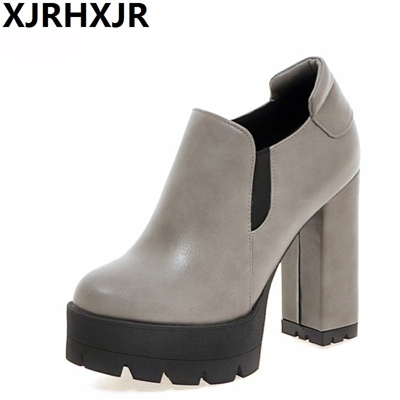 XJRHXJR Spring Autumn Single Shoes Woman Fashion Square Heel Round Toe Party Wedding Pumps Ladies High Heels Platform Shoes morazora fashion 2017 women pumps thick heels platform spring single shoes woman high heels round toe party wedding shoes