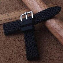 Ремешки для наручных часов с пряжкой для дайвинга, 22 мм, уличные водонепроницаемые ремешки для шин, Черный силиконовый мягкий сменный ремешок для спортивных часов