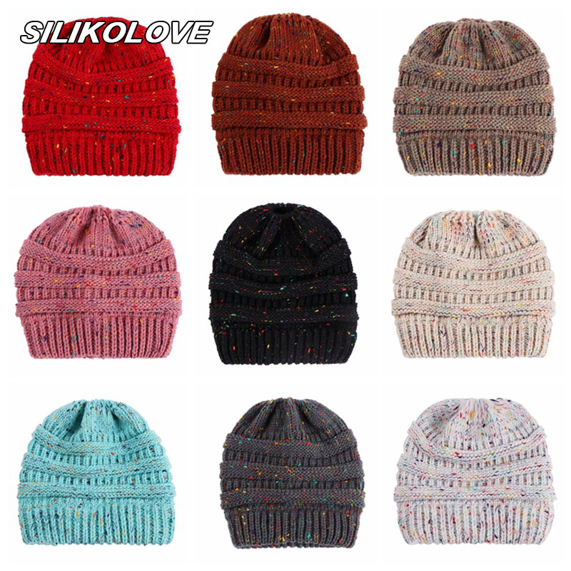 Ponytail Winter Hats for Women Crochet Knit Cap Mix Color   Skullies     Beanies   Warm Caps Female Knitted Stylish Hat Wholesale