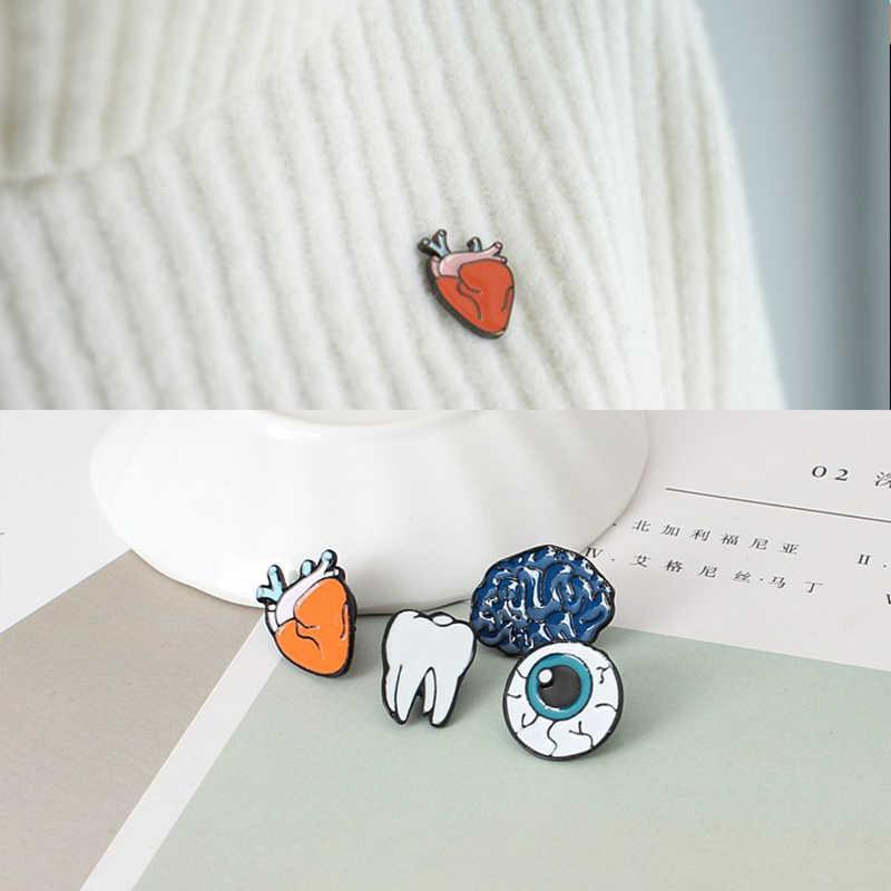 Eropa dan Amerika Jepang dan Korea Fashion Kreatif Jantung Otak Gigi Mata Lucu Bros Punk Bros Kain Perhiasan Aksesoris