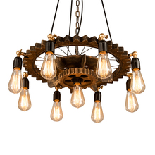 Creative retro loft  chandelier 9 heads wood pendant lamp restaurant living room dining room foyer cafe club bar light headlight