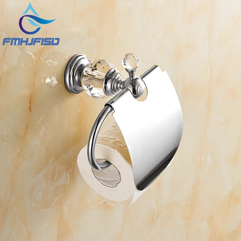 Free Shipping Wall Mounted Crystal Hook Chrome Finish Bathroom Toilet Paper Holder free shipping wall mounted space aluminum black golden paper towel shelf phone toilet paper holder