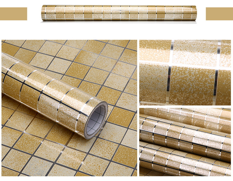 0.45m*1m  Self adhesive Wallpaper PVC Stickers Kitchen Mosaic Tile Bathroom Walls Decal Home Decoration