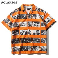 Aolamegs T Shirt Men Boxer Picture Printed Men's Tee Shirts Turn down Collar T Shirt Fashion High Street Tees Hip Hop Streetwear