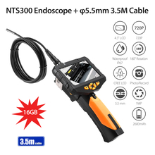 5.5mm borescope Camera New NTS300 4.3 color LCD Display Monitor Inspection Endoscope 6 LEDS Borescope 3.5M Snake Tube Camera цена