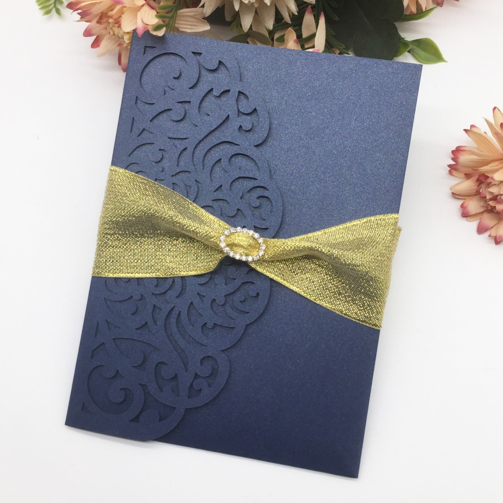 Us 62 7 43 Off 50pcs Free Ribbon Elegant Lace Design Wedding Invitations Laser Cut Pearl Paper Birthday Gift Card Dinner Invite Rsvp Card In Cards
