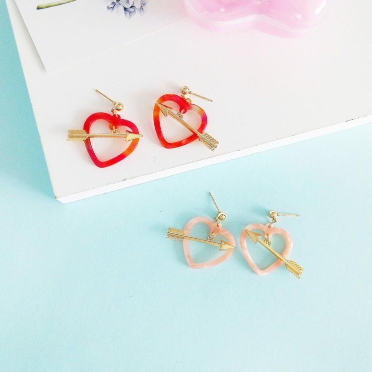 kshmir Heart-shaped earrings Fashion dazzle colour harajuku powder lovely sweet love Cupid aiwen details earrings ...
