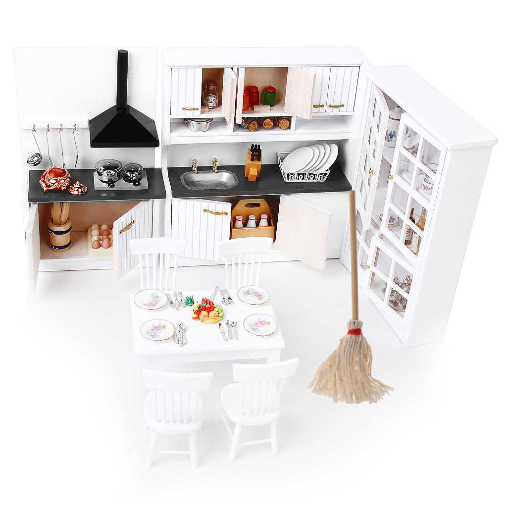 1:12 Dolls House Miniature Kitchen/Dining Rooms Furniture Decoration Kit Luxury Cabinet + Cleaning Tool Mop Suit Model Toys