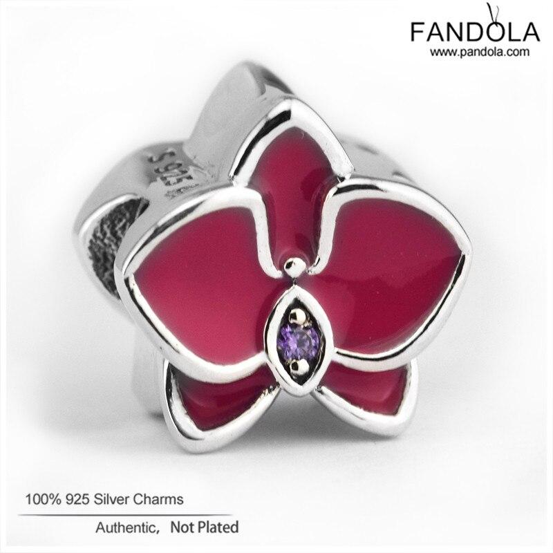 100% 925 Sterling Silber Radiant Orchid Flower Charm Perlen für die - Edlen Schmuck - Foto 1