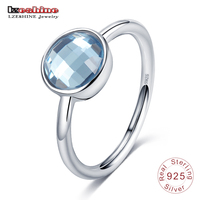 LZESHINE Blue Stone Finger Ring Round Lovely Shape Pure 925 Sterling Silver Rings For Women Fashion