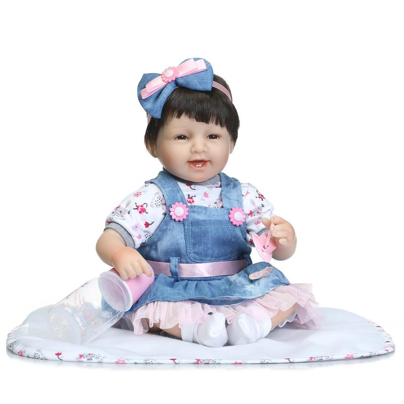 40cm Cute Silicone Reborn Baby Dolls NPKCOLLECTION Newborn Girl Babies Doll Toy For Kids Girl Brinquedos Christmas Birthday Gift стоимость