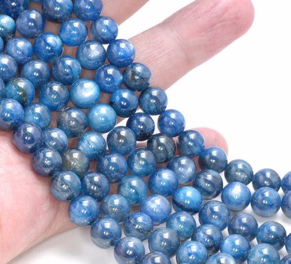 Wholesale 1string Natural Blue Kyanite Round Beads 4mm 6mm 8mm 10mm 12mm Gem Stone Loose Beads For Jewelry DIY 15.5