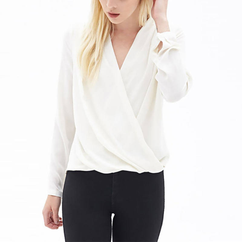 Sexy V-Neck Full Sleeve Chiffon Blouse Women Sexy Club Party Shirts Casual Loose Office Blouse Casual Simple Top