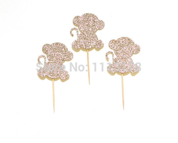 Cheap Glitter Monkey Cupcake Toppers Picks Birthday