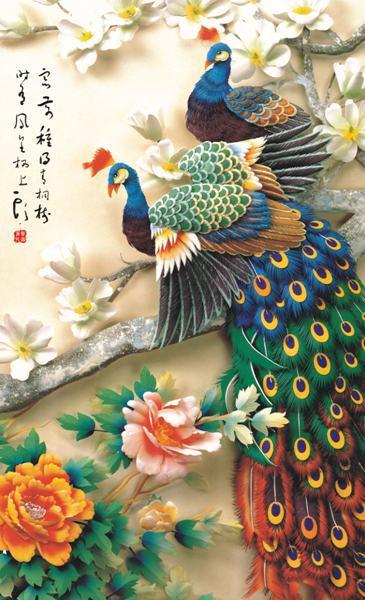 Free Shipping Chinese Plum Flower Peony Peacock Mandarin