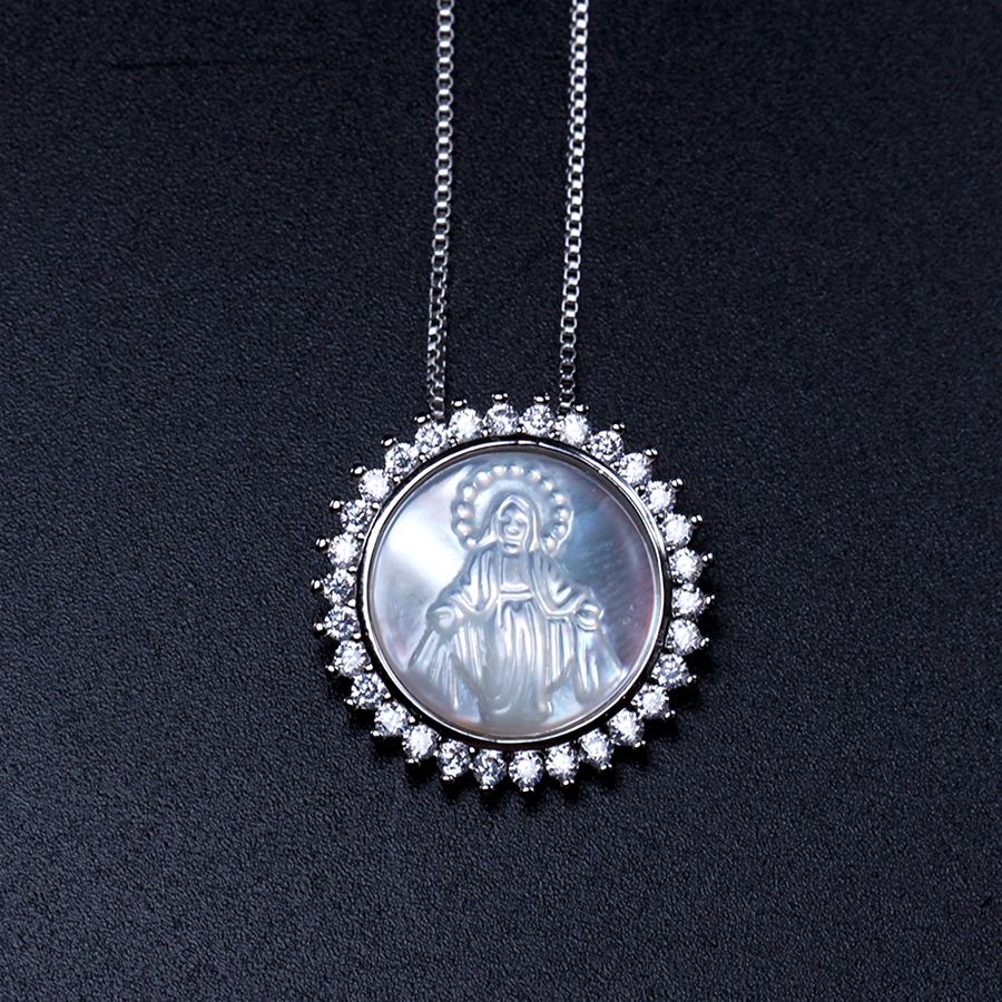 hot sale Round Shape Virgin Mary Pendant Necklace cubic zirconia Pendant Necklaces fashion jewelry Bijoux for women gift PGY016 hot sale special shape pendant women s necklace