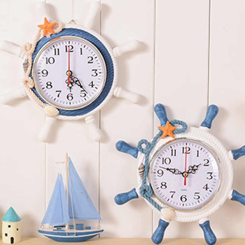 Casual Home decoration Mediterranean Sea sailing wall clock watch needle single face Ship 's anchor helmsman reloj salon T0.2