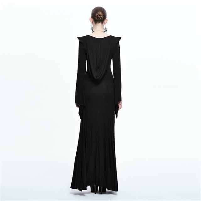 0cc659ad6ff Online Shop Punk Witch Maxi Dress Black Long Sleeve Hoodie Dress Spring Side  Split Sexy Long Dress