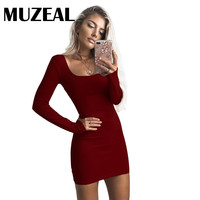 Deep U Neck Women Dress Long Sleeve Low Neck Mini Dress Solid Color Tight Fitted Night