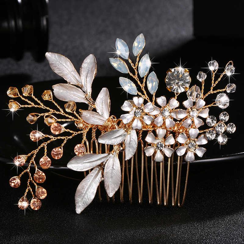 Klassische Blumen Österreichischen Kristall Handgemachte Haar Kämme Clips Hochzeit Haar Zubehör Schmuck Braut Haarnadeln Kopfschmuck