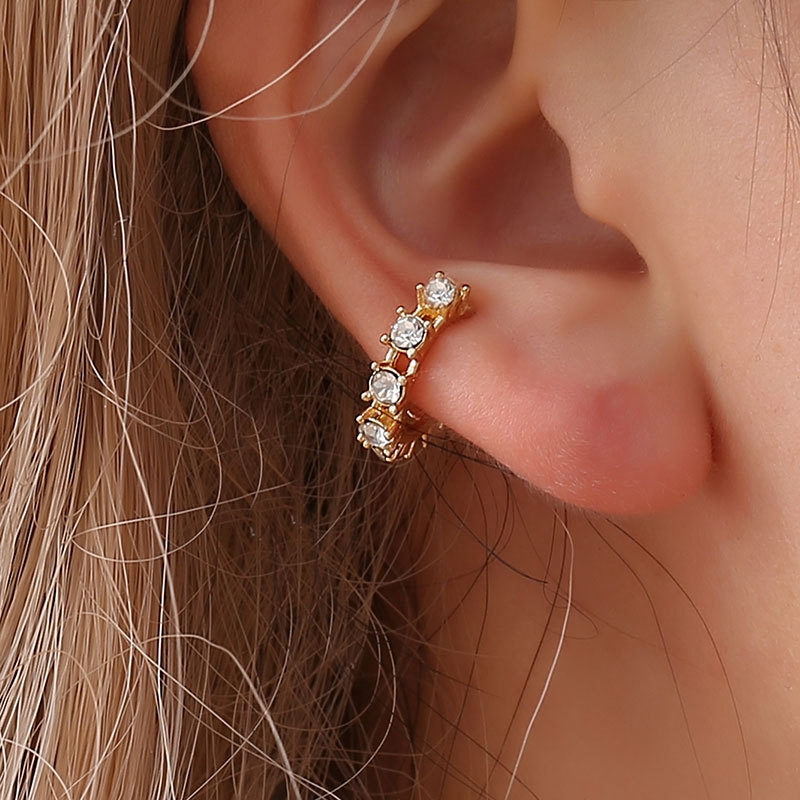 SHUANGR Ear Cuff Micro Pave CZ Circle Cuff Shiny Crystal Gold Color Pierced stack small Sized Little Girl Earring Cuff New