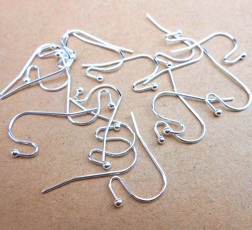 100PCS 2017 New Arrival Earring Findings Genuine 925 Sterling Silver Jewellery Ear Wire S Ball Hooks DIY Handmade Collections(China)