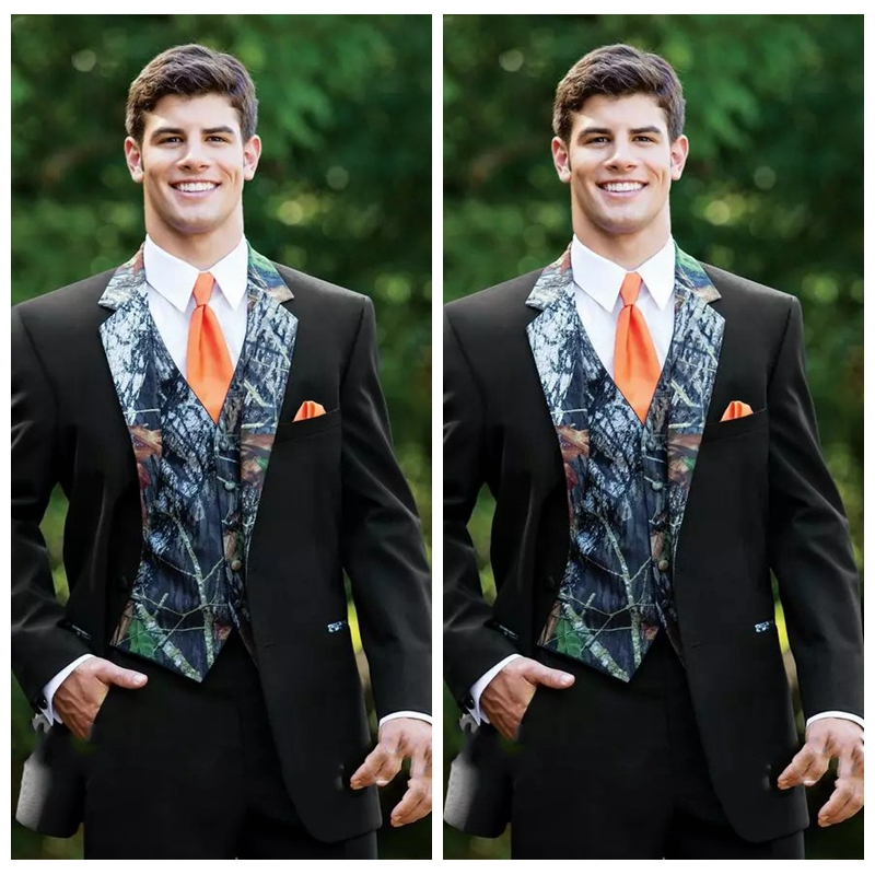 2019 Camouflage Custom Button Camo Men Wedding Tuxedos Groomsmen Suits Notched Lapel Groom Wear Prom Suits ( Jacket+Pant+Vest)