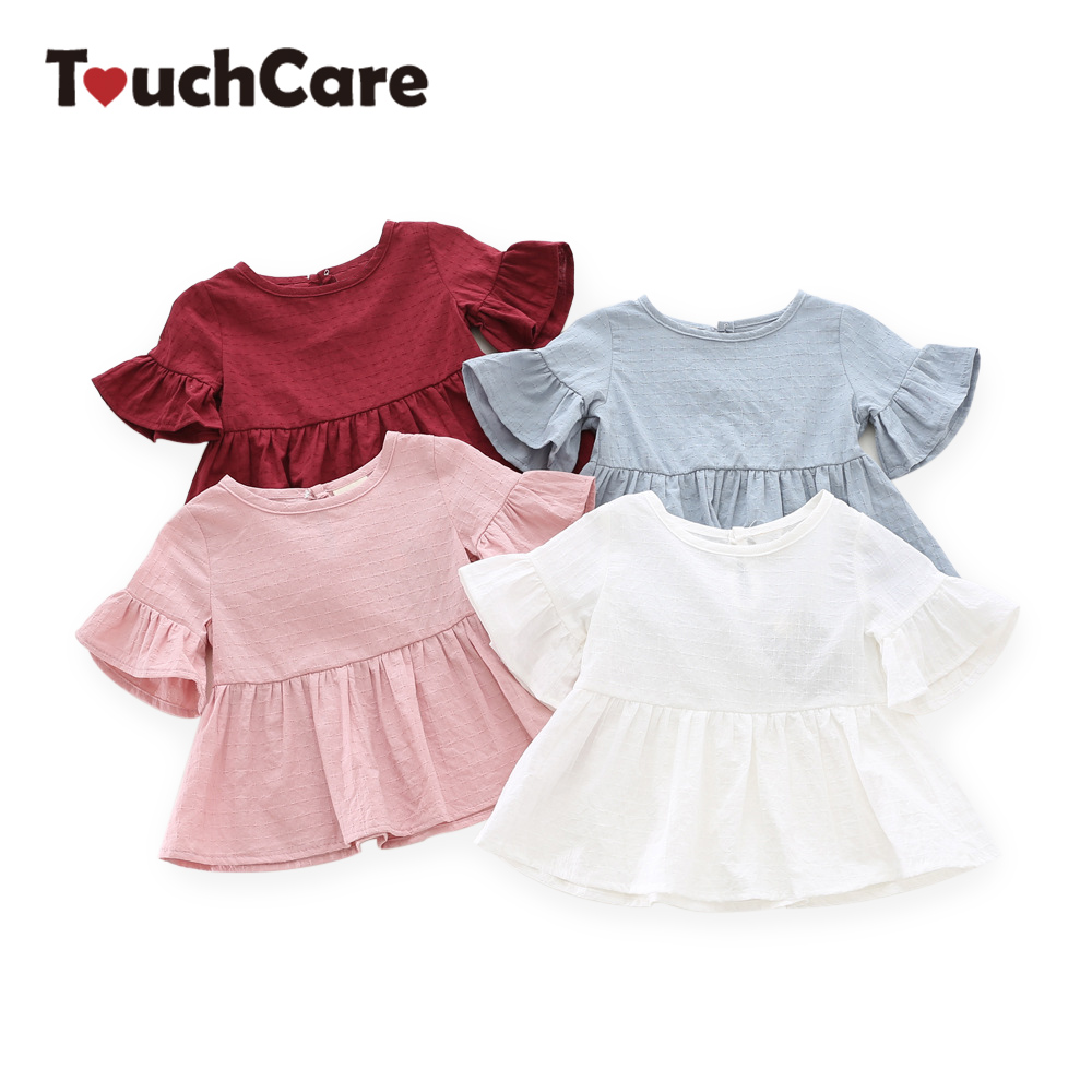 Lotus-Leaf-Short-Sleeves-Baby-Girl-Dress-Pink-White-Color-Toddler-Skirts-Solid-Princess-Blouse-Shirts-Infant-Top-Tees-Shirt-1