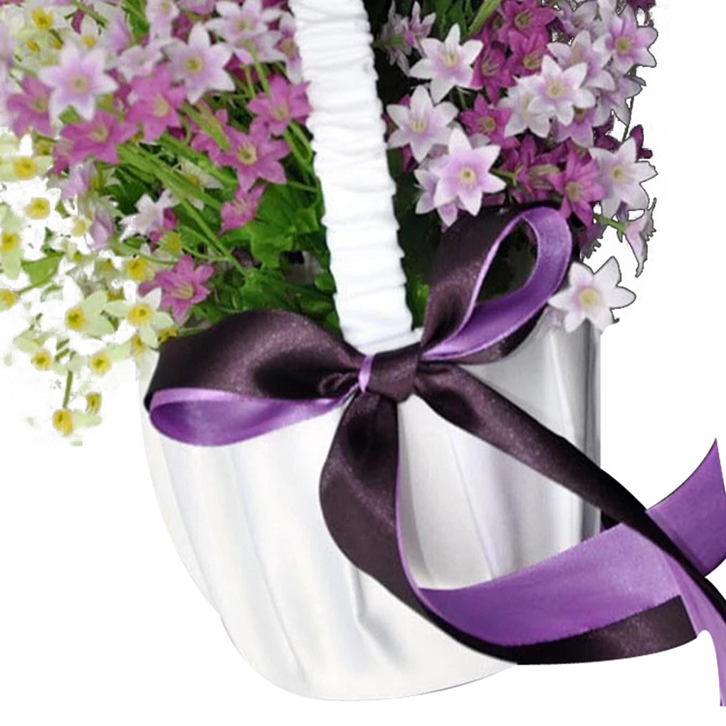 Free Shippingwhite Satin Double Dark Purple Ribbon Wedding Flower