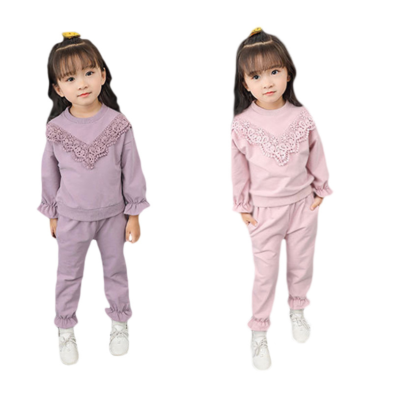 LILIGIRL Children Clothing Autumn Girls Clothes T-shirt+Pant Kids Lace Costume Flare Sleeve Sport Suit For Girls Clothing Sets autumn winter girls children sets clothing long sleeve o neck pullover cartoon dog sweater short pant suit sets for cute girls