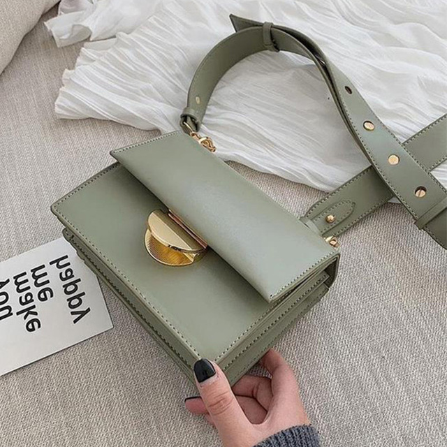 ETAILL 2019 Summer Green Bag Women Crossbody Bags Classic Flap Bag PU Leather Luxury Womens Bags Wide Strap Shoulder Bags