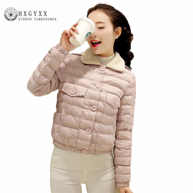 High quality New Winter Women Short Cotton Coat Lamb Mao lapels Pure color Outerwear Single breasted Long sleeved parka ZX0084 free shipping boruoss 2015 new fashion winter cotton coat women short single breasted coat boruoss w1292