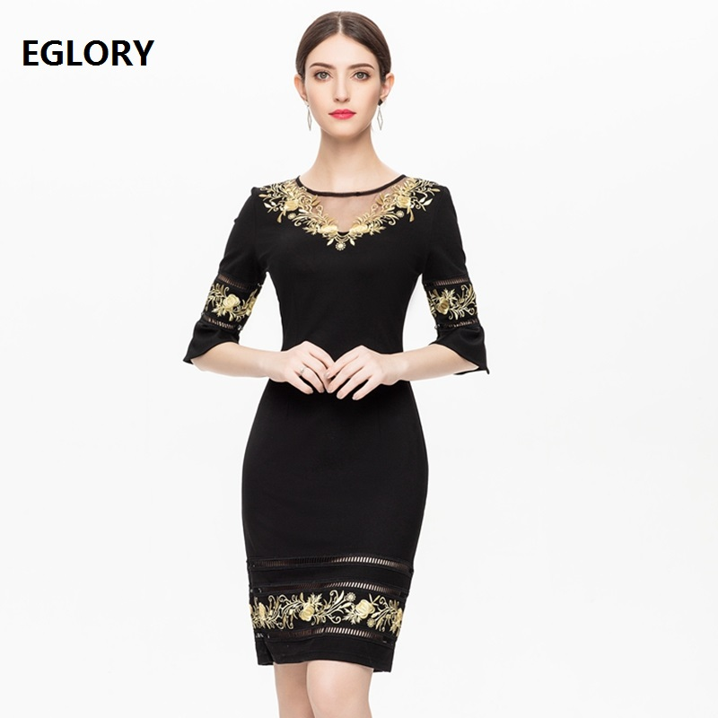Bodycon Dress 2019 Spring Fashion Party Cocktail Women O-Neck Sexy Sheer Mesh Embroidery Patchwork Hollow Out Dress Elegant XXXL