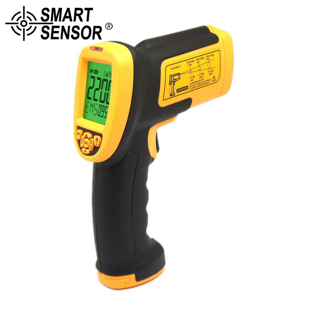 SMART SENSOR 80:1 Pyrometer non contact 200~2200C digital Infrared Thermometer laser IR Temperature Gun Meter Measurement цена
