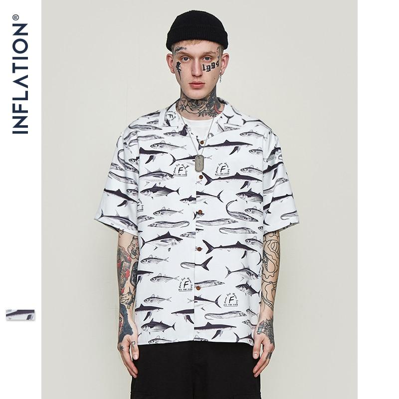 INFLATION Mens Hawaiian Shirt Male Casual Fish Graphic Printed Beach Shirts Short Sleeve Streetwear Hip hop Brand Clothing 9229S