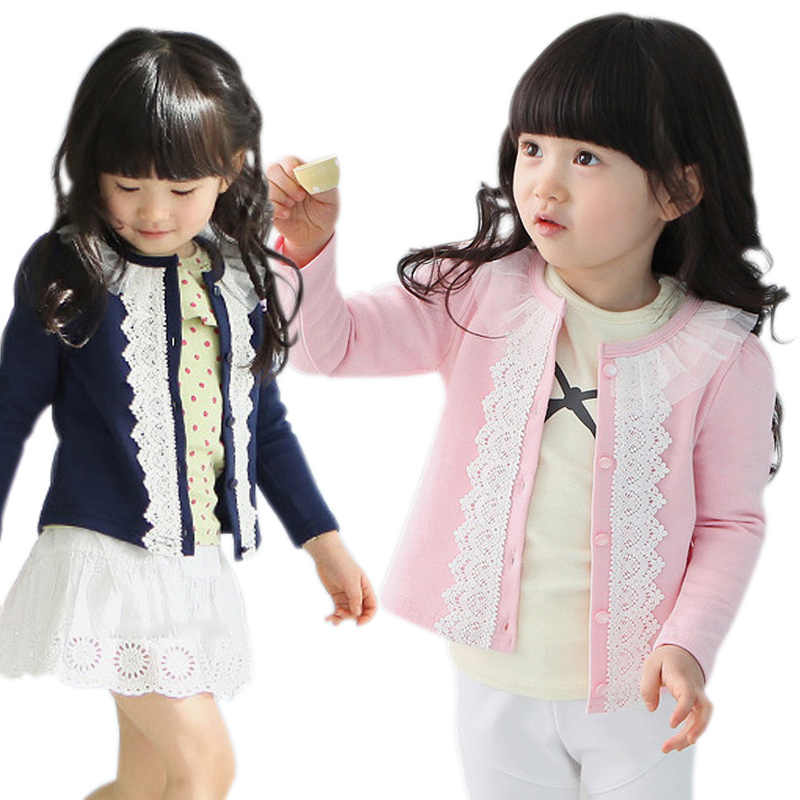 Hot Sale Autumn Spring Girls Cardigan Sweater Baby Infant Knitted Cardigans Lace Splice Jacket Coat FJ88