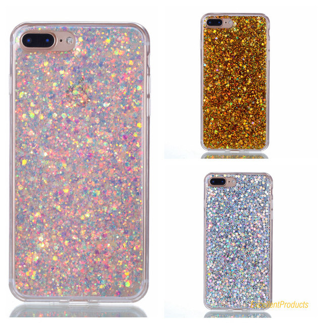 online retailer d61ba 1031d US $3.76 12% OFF|Phone Cases For Apple iPhone 7 Plus Glitter Bling Case  Flashing Powder Back Cover Luxury Soft TPU Silicon Capa Coque-in  Half-wrapped ...