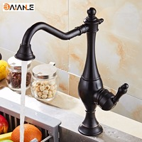 Kitchen Faucet Black Antique Brass Single Handle 360 Rotating Bathroom Basin Faucet Sink Mixer Cold and Hot Water Taps