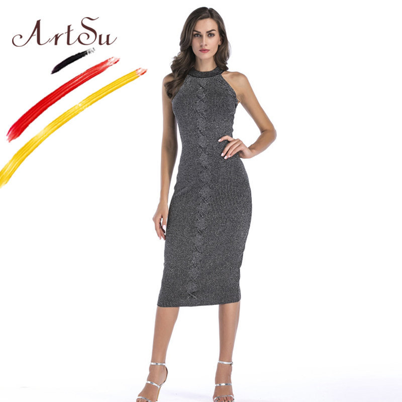 ArtSu 2017 Fashion Winter Club Party Vestidos Women Sexy O-Neck Sleeveless Bandage Dress Slim Bodycon Knee-Length Knitted Dress цена