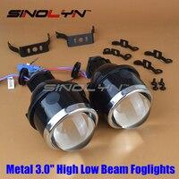 SINOLYN מכונית אופנוע HID קסנון Bi עדשת מקרן אורות ערפל נהיגה מנורות עמיד למים 3.0 ''דו מוקדי Retrofit DIY גבוה/ערכה נמוכה
