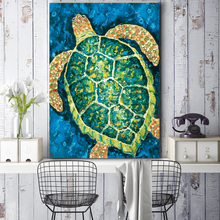 Hd. Animal wall painting, watercolor sea turtle childrens home decorative painting ST243