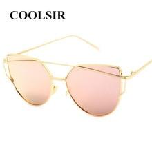 COOLSIR Women Cat Eye Polarized Sunglasses Classic Brand Designer Twin-Beams Sunglasses Coating Mirror Flat Panel Lens