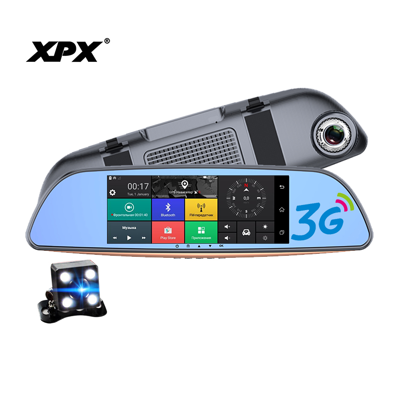 Dash cam XPX ZX857D DVR Car dvr mirror 3G 7screen Full HD 1080P Rear view camera Dashcam Car camera 3 in 1 Android4.4 Dvr car