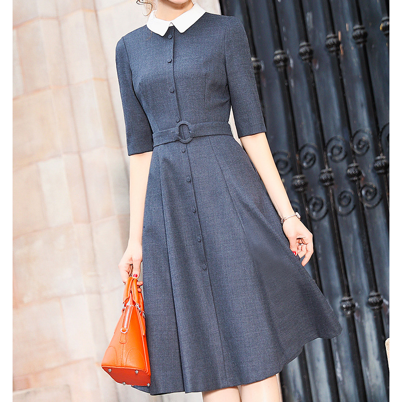 2019 summer dress women vintage elegant party dresses female half sleeve peter pan collar mid dress