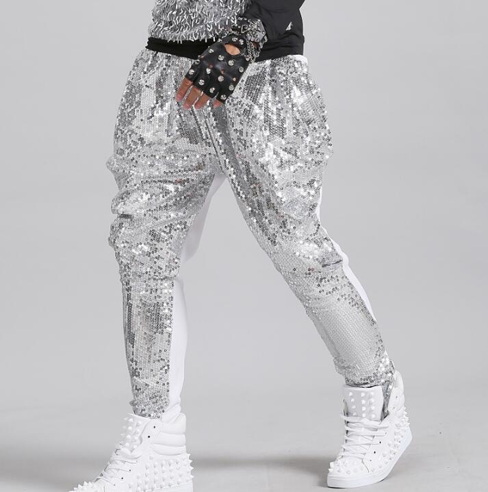 Stage Personality Men Sequins Pants Harem Pant Men Feet Trousers Singer Dance Rock Fashion Pantalon Homme Street Novelty Silver