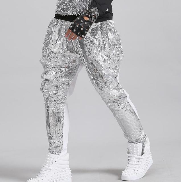 Stage personality men sequins pants harem pant men feet trousers singer dance rock fashion pantalon homme street novelty silver 1