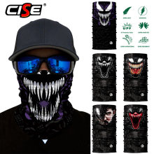 3D Bivakmuts Magic Hals Gezichtsmasker Motorfiets Ghost Skull Tactische Skiën Motorbike Sjaal Bandana Motor Head Shield Helm Zon(China)