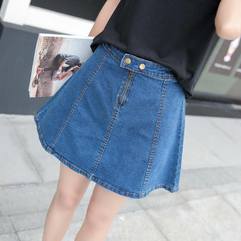 8ab160f68a9 ... 2019 Summer Mini Jeans Skirt for Women Student Girls High Waist Black  Jupe Denim Skirts Female ...