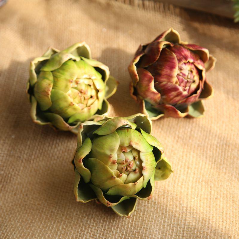 Kunstige planter Artiskok Grønt blad Sukkulent kaktus til DIY hjemmefest Dekoration Plante Vægtilbehør Fotostand