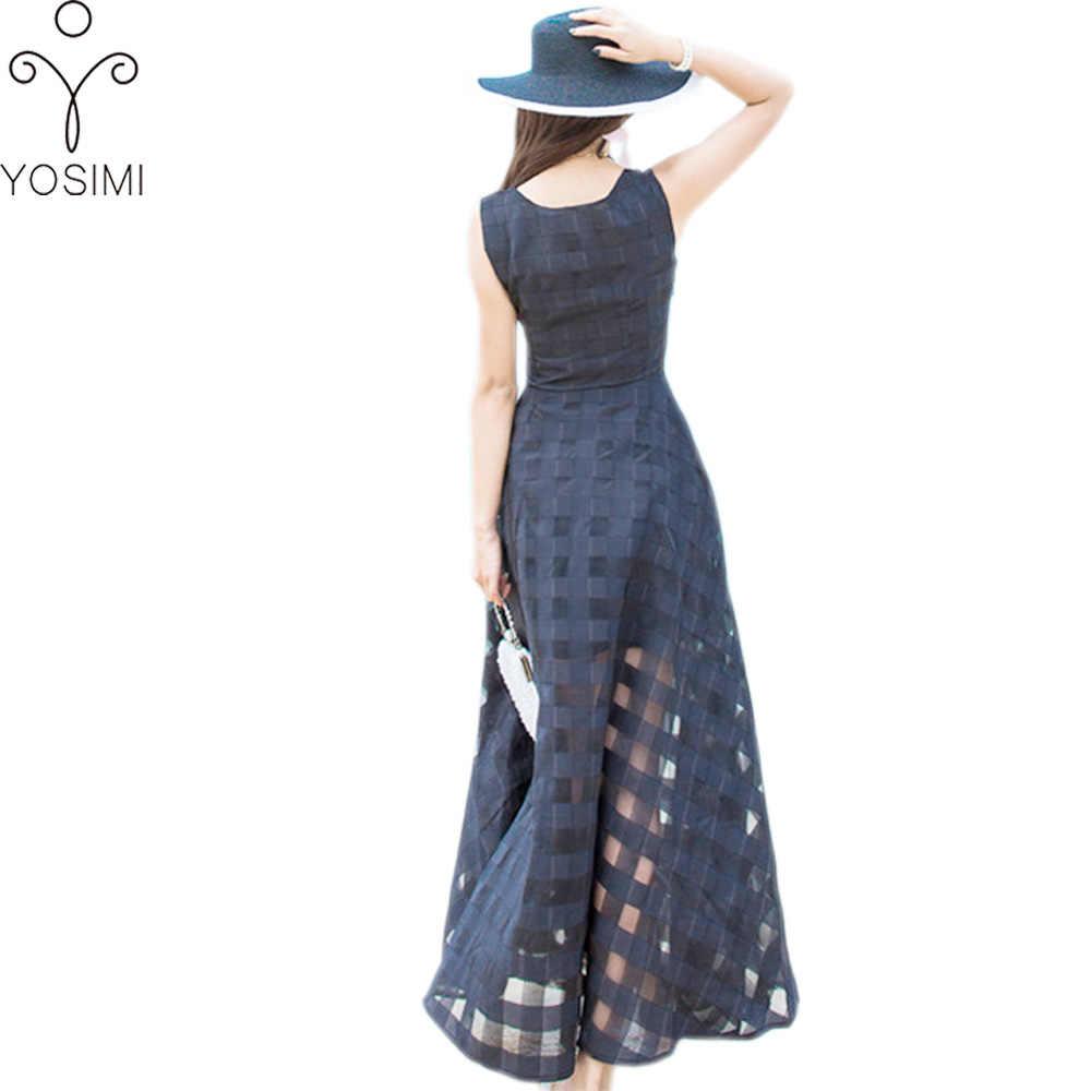 4afdcb0124d ... YOSIMI Летнее платье Черное классическое органза Макси длинное женское  платье с круглым вырезом без рукавов в